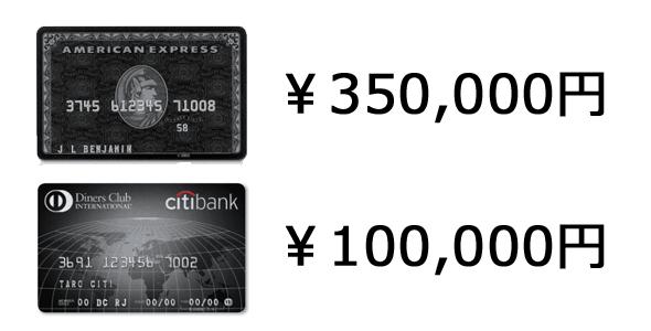 ブラックカードの年会費を比較