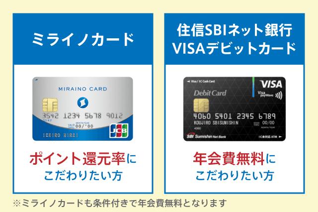 ミライノ カードと住信SBIネット銀行Visaデビットカードの違い