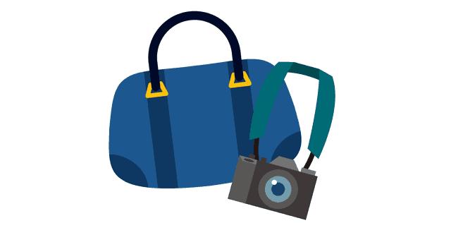 カメラ、バッグ