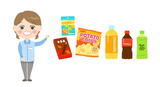 コンビニの食品、飲み物
